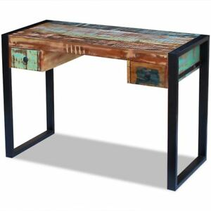 Vidaxl Solid Reclaimed Wood Workstation Computer Desk Home Office Table 2 Drawer
