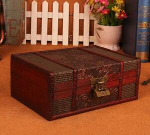 New Decorative Trinket Jewelry Lock Chest Handmade Wooden Storage Box With Lock