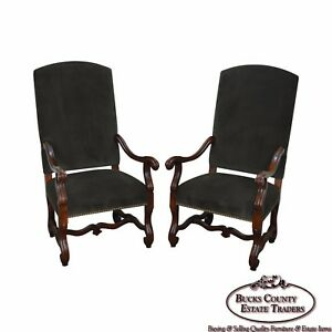 Ralph Lauren Pair Of French Louis Xiii Style High Back Throne Arm Chairs