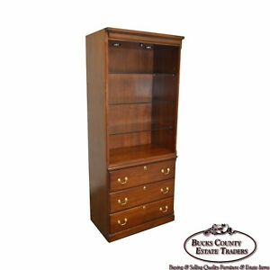 Harden Cherry Wood Open Curio Bookcase Unit W Drawers