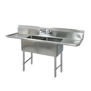 Bk Resources 71 x25 5 Two Compartment 16 Gauge Stainless Steel Sink