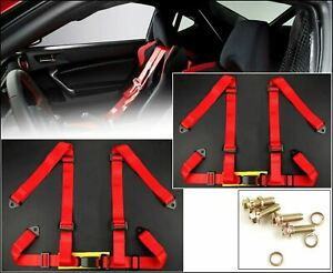 2 X Red 4 Point 2 Width Strap Nylon Buckle Racing Seat Belt Harness For Chevy