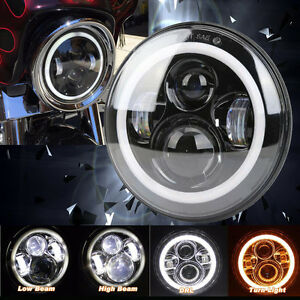 7inch Motorcycle Led Headlight Projector Halo Ring Angel Eye Drl Lamp For Harley