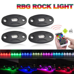 4pcs Pod Mini Bluetooth Rgb Led Rock Light For Atv Off road Ute Vehicle Car