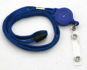Blue Retractable Lanyard Reel Inc Badge Strap With Safety Breakaway