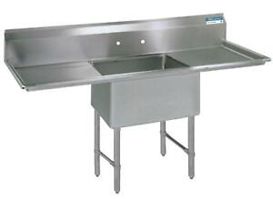 Bk Resources 18 x18 x14 One Compartment 16 Gauge Stainless Steel Sink