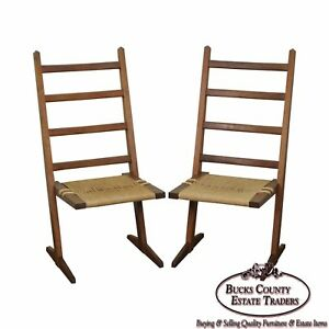 Studio Crafted Solid Walnut Pair Of Rush Seat Side Chairs In George Nakashima St