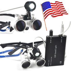 Us Black Dental Loupes 2 5x 420mm Led Head Light Lamp Magnifying Glass Magnifier