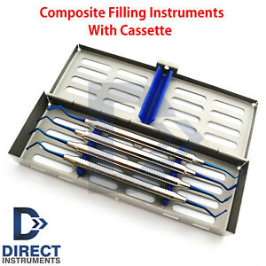 Dental Composite Plastic Filling Instruments Titanium Blue Coded Tips cassette