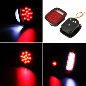 Truck Trailer Stud Mount Stop Turn Tail Back Up Light 39 Led Red White Color