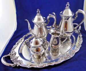 El Greco By Reed Barton Silver Plate 5 Piece Tea Coffee Sugar Creamer Tray
