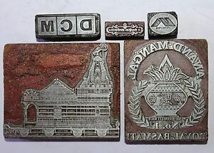 Lot Of 5 Antique Vintage Letterpress Metal On Wood Printing Blocks 083