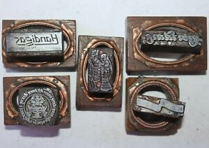 Lot Of 5 Antique Vintage Letterpress Metal On Wood Printing Blocks 063