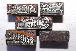 Lot Of 5 Antique Vintage Letterpress Metal On Wood Printing Blocks 095