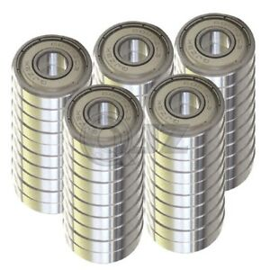 50x 608 zz Ball Bearing Sealed Roller Skate Skateboard Long Board Replacement