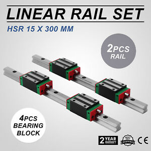 Cnc Set 15 300mm 2x Linear Guideway Rail 4x Square Type Carriage Bearing Block