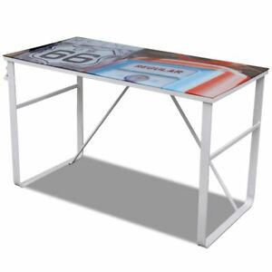 Modern Computer Desk Rectangular Study Office Laptop Pc Glass Table W Printing