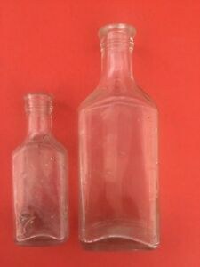 Vintage Glass Bottles Lot Of 2 Clear Glass Marked In Cc S Medicine Apothecary
