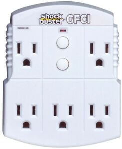 5 outlet Gfci Adapter 15 amp 3 Wire Power Strip Converter Home Extension Outlet