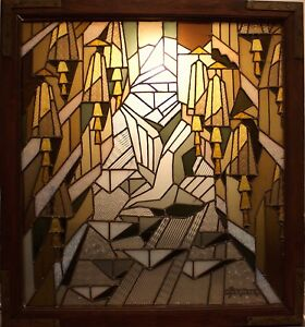 French Art Deco Stained Glass Panel By Jean Jacques Gr Ber