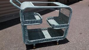 Mid Century Wicker And Glass Serving Cart Bar Cart Garden Party