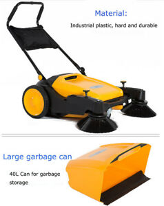 Hard Rubber Triple Brush Push Power Pavement Sweeper Walk behind Sweepr 39 5