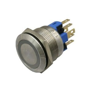 5pcs 22mm Metal Switch Ring Blue Led 12v Indication Momentary Push Button
