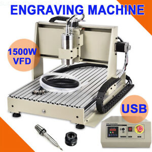 1 5kw Usb Cnc Router Engraver Milling Machine Engraving Drilling 3 Axis 6040