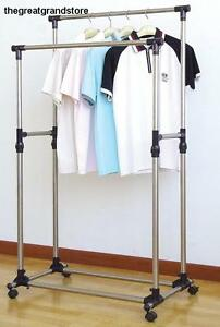 Double Garment Rack Sturdy Adjustable Heavy Duty Rolling Clothes Hanger Metal