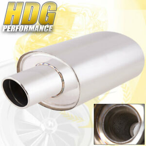 Weld On 4 Oval Tip 3 Inlet Universal Stainless Steel Single Exhaust Muffler