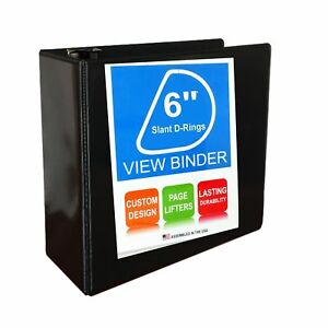 3 Ring Binder Slant D rings Clear View Pockets 6 Inch Black 6 Inch