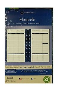 Franklin Covey Classic Monticello Dated Two page Per Week Planner Refill 3706