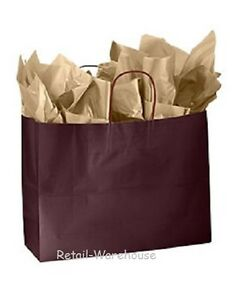 Paper Shopping Bags 100 Glossy Wine Maroon Retail Gift Merchandise 16 X 6 X 12
