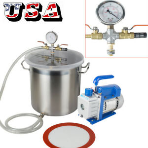 5gallon Stainless Steel Vacuum Degassing Chamber Silicone Kit 3 Cfm Pump Hose Ce
