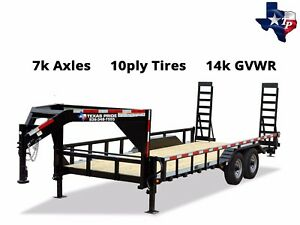 New Texas Pride Gooseneck 7 x20 Lowboy Tube Top Equipment Trailer 14k Gvwr