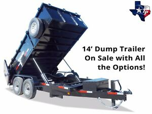 Brand New 7x14x3 Bump Pull Dump Trailer 16k Gvwr Loaded With Options
