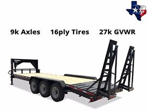 New Texas Pride 7 x24 Lowboy Gooseneck Equipment Trailer 27k Gvwr