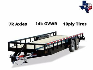 New Texas Pride Bumper Pull 7 x20 Lowboy Tube Top Equipment Trailer 14k Gvwr