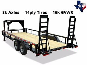New Texas Pride 8 X 20 Gooseneck Lowboy Equipment Trailer 16k Gvwr
