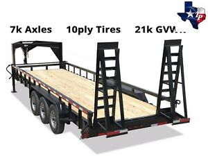 New Texas Pride 7 x24 Lowboy Tube Top Gooseneck Equipment Trailer 21k Gvwr
