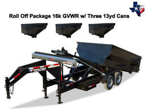 New 7 X 14 Roll Off Dump Trailer 16k Gvwr With Three 13yd Dumpsters