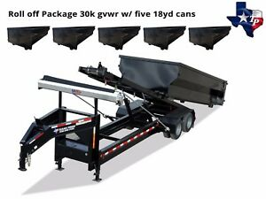 8 X 20 Roll Off Dump Trailer Gas Powered 30k Gvw With Five 18yd Dumpsters