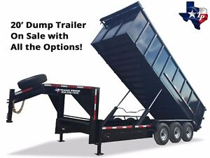 Brand New 7 X 20 Gooseneck Dump Trailer 21 Gvwr Fully Loaded Package Deal