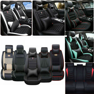 Full 5 seats Car Seat Cover Pu Leather Front rear Cushion pillow Set All Season