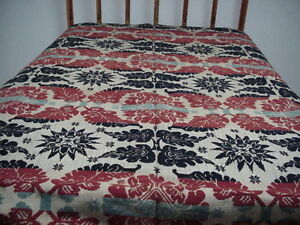 Antique Wool Tri Colored Jacquard Coverlet Acanthus Leaf Star Medalion Design