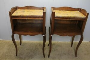 1940s Pair Of Italian Walnut Inlaid Marble Top Nightstands With Pull Out Trays
