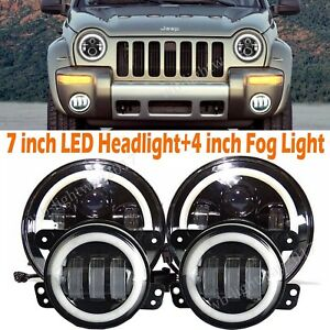 Cree 7 Halo Led Headlight 4 Fog Light Lamp For Jeep Wrangler White Super Bright