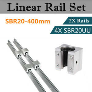2set Sbr20 400mm 20mm Linear Slide Rail Shaft 4pcs Sbr20uu Bearing Block Cnc