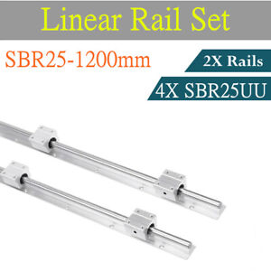 Linear Rail Shaft Rod With 4 Sbr25uu Bearing 2set Sbr25 1200mm Fully Supported