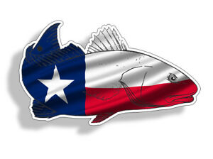 Texas Tx Flag Redfish Red Fish Sticker Fishing Car Vehicle Window Bumper Decal